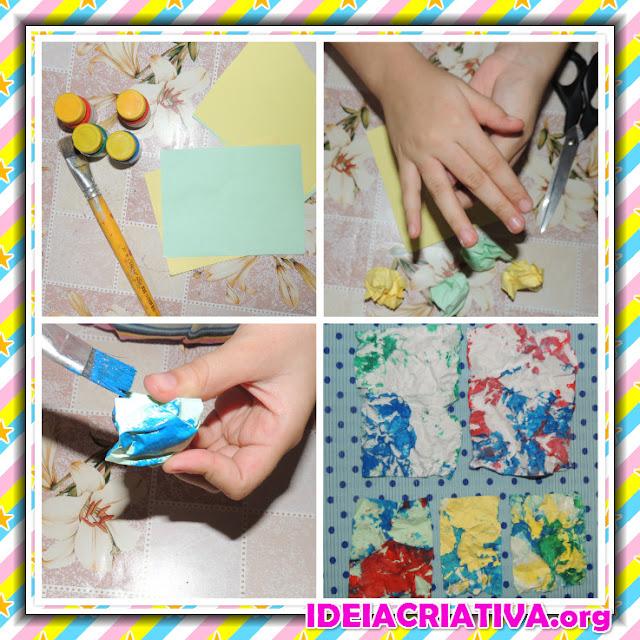 Arte Educação Infantil Pintura em Papel Amassado