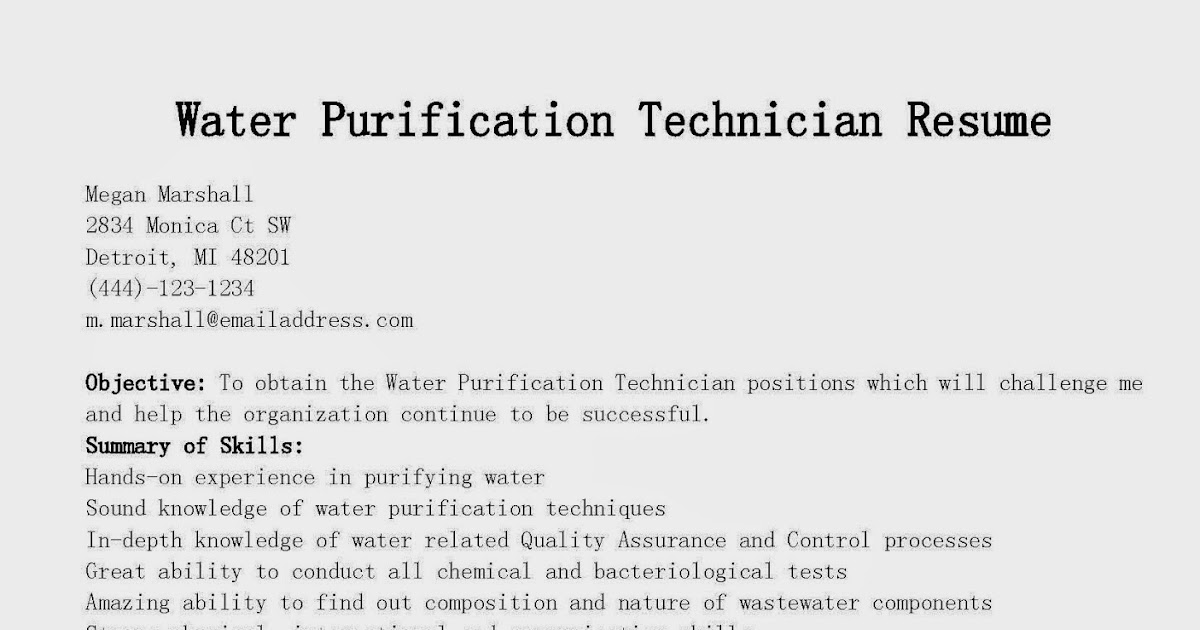 resume sles water purification technician resume sle