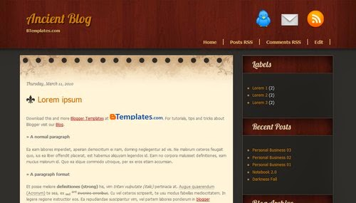 Ancient Blog - Free Blogger Template