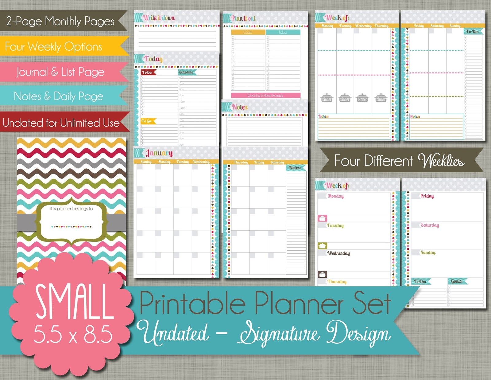 The Polka Dot Posie How to Print and Assemble our Small Planner Pages – Planner Format