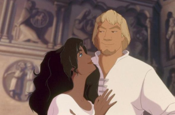 Esmeralda holding Phoebus The Hunchback of Notre Dame 1996 animatedfilmreviews.blogspot.com