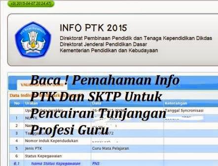 Info Pendidikan Terbaru: Pemahaman Info PTK Dan SKTP Untuk Pencairan ...