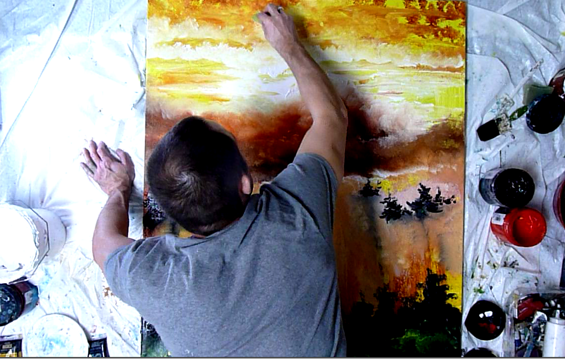 "Working on ""Rising Clouds"" painting"
