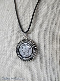 Black cotton cord necklace with Mercury Dime pendant