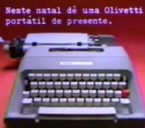 Campanha de Natal para promover a venda das máquinas de escrever Olivetti, nos anos 80.