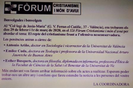 FÒRUM CRISTIANISME I MÓN D'AVUI