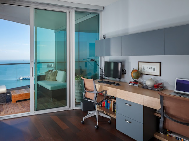 Picture of bright home office with the balcony exit