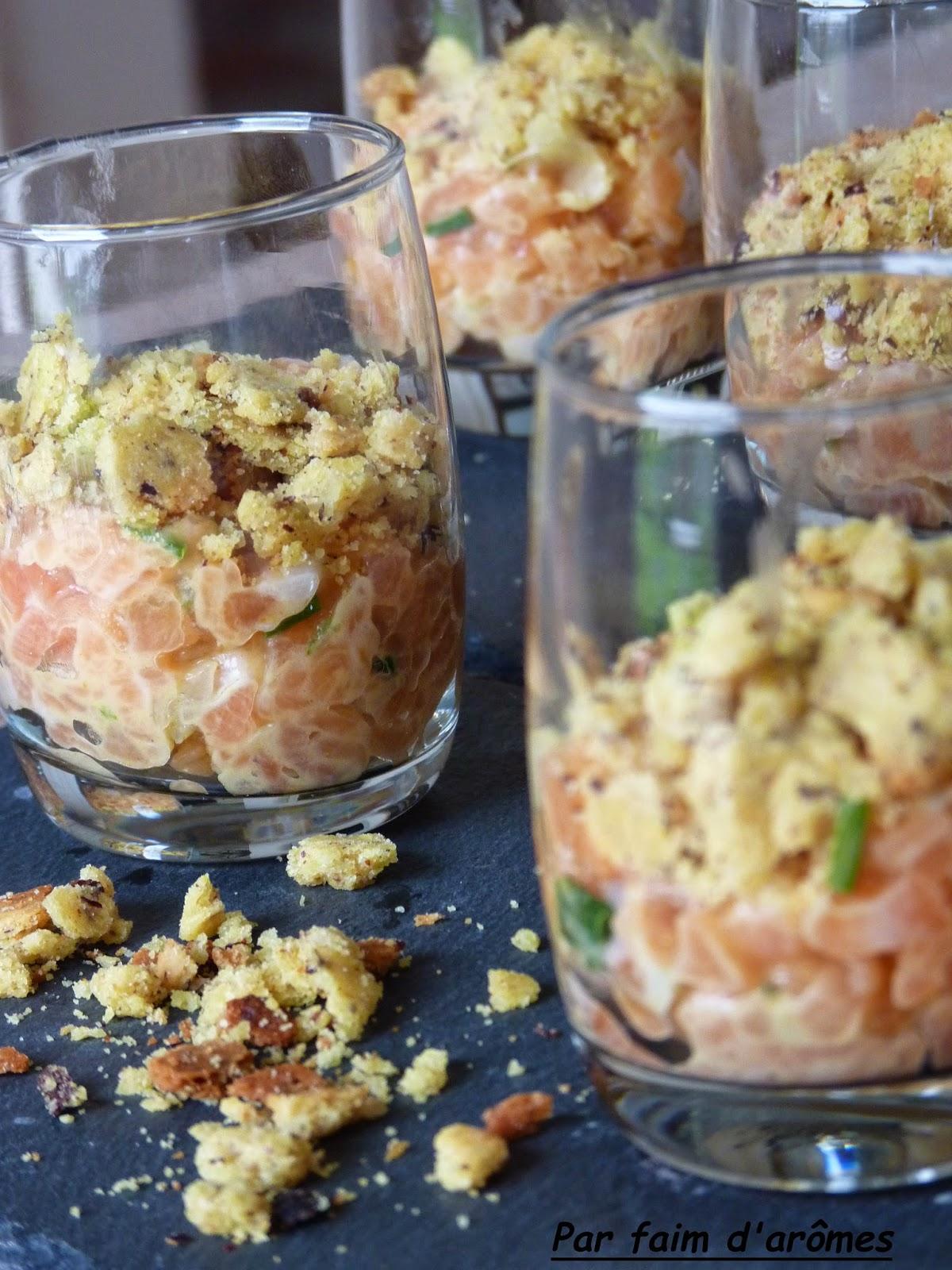 Crumble de saumon aux agrumes et Savora