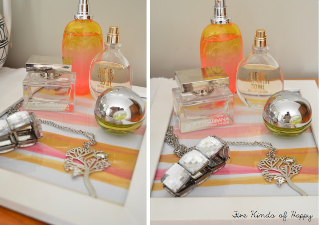 Five Kinds of Happy blog: bright bedroom vignette, art for perfume tray