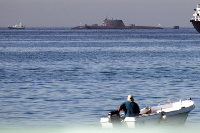 British nuclear submarine docks in Gibraltar