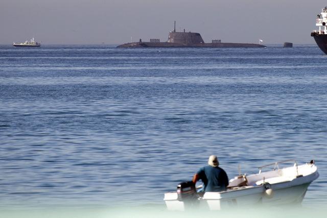 British nuclear submarine docks in Gibraltar