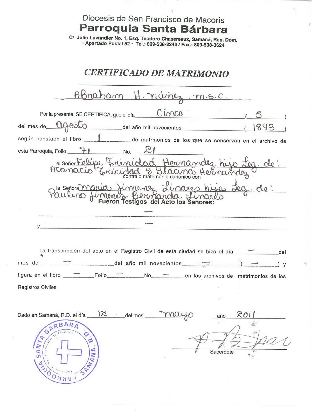 Acta De Matrimonio Catolico : Mi pais actas de matrimonio atanasio trinidad diaz