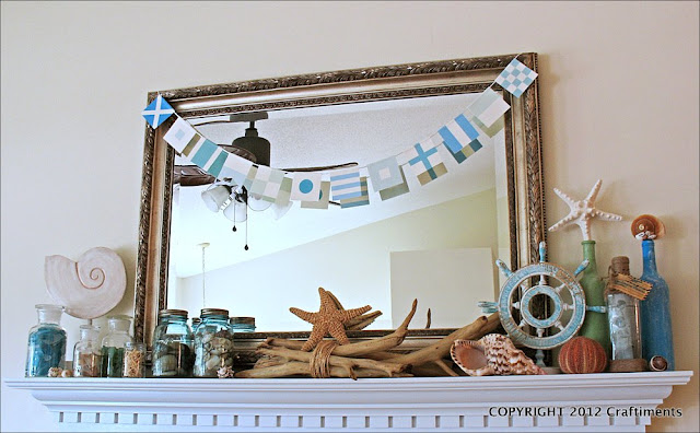 Craftiments.com:  Beach Themed Summer Mantel