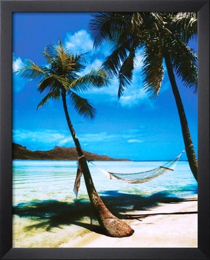Tropical Beach Hammock Palm Trees Art Poster Print