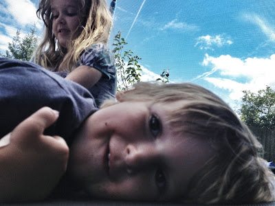 lying on the trampoline