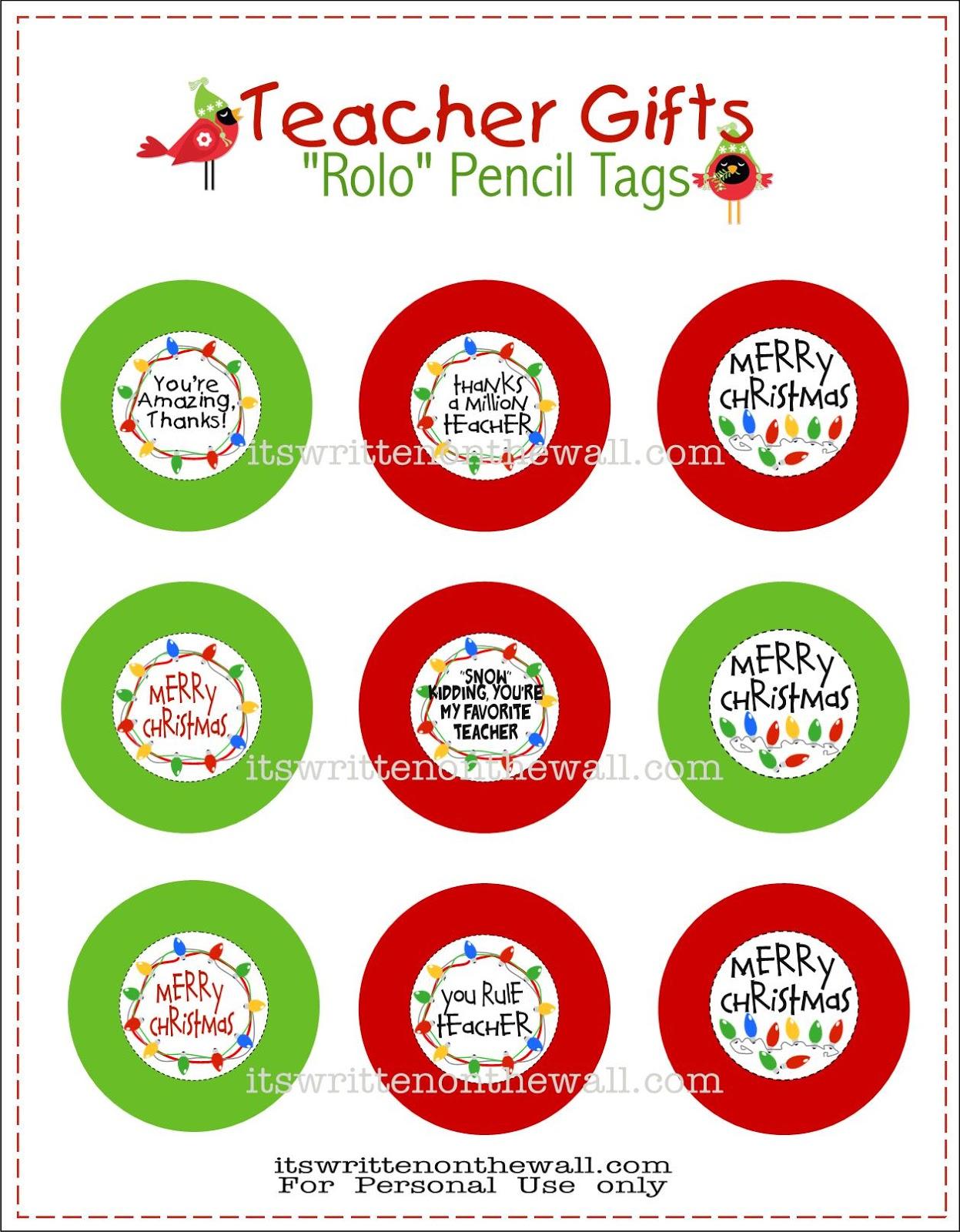 Freebie) Teacher Christmas Gift-Rolo Pencils w/Tags | Pinnutty.com