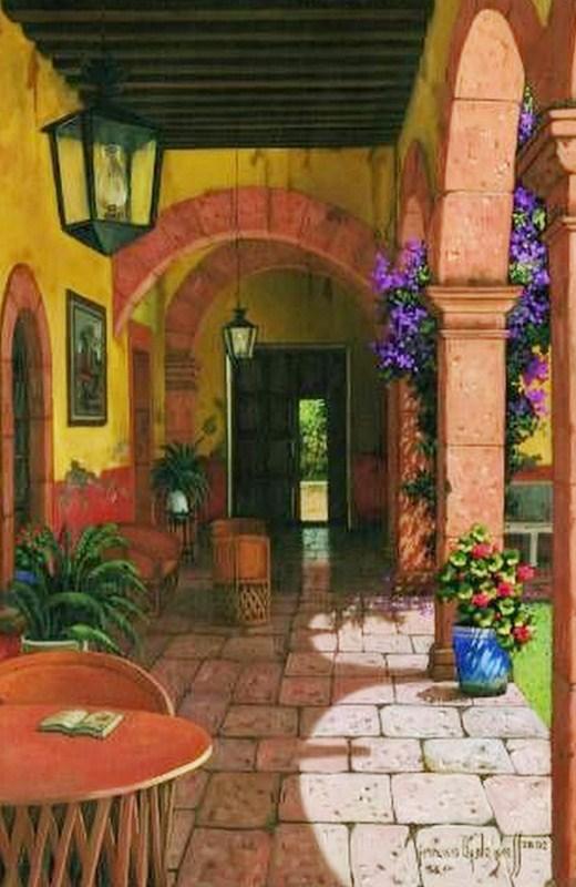Im genes arte pinturas paisajes antiguos coloniales de m xico for Cuadros mexicanos rusticos