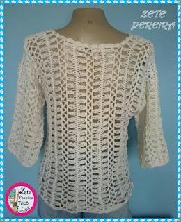 Blusa de Crochê, Blusa em Crochê de grampo, Blusas, Crochê de Grampo, feito com fio duna circulo