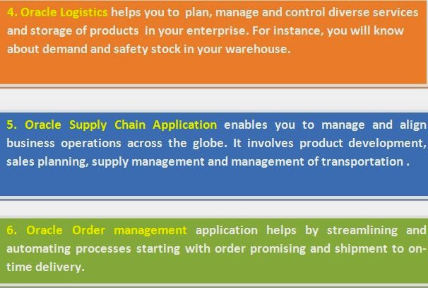 4. Oracle Logistics helps you to  plan, manage and control diverse services and storage of products  in your enterprise. For instance, you will know about demand and safety stock in your warehouse. 5. Oracle Supply Chain Application enables you to manage and align business operations across the globe. It involves product development, sales planning, supply management and management of transportation .6. Oracle Order management application helps by streamlining and automating processes starting with order promising and shipment to on-time delivery.