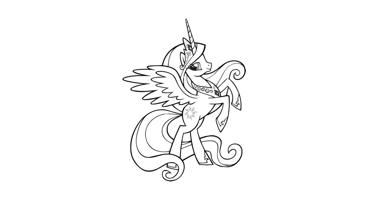 free my little pony mlp princess celestia coloring pages - Princess Celestia Coloring Page
