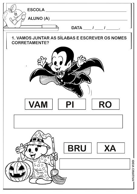 Atividade Juntando Sílabas Temática Halloween Zé Vampir e Magali