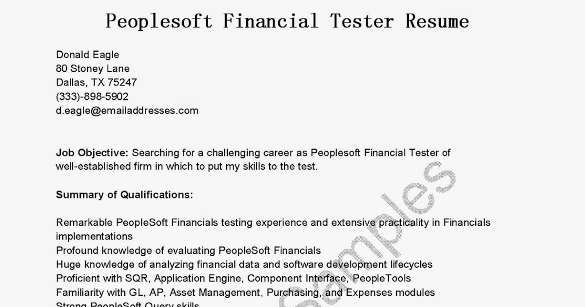 resume samples  peoplesoft financial tester resume sample