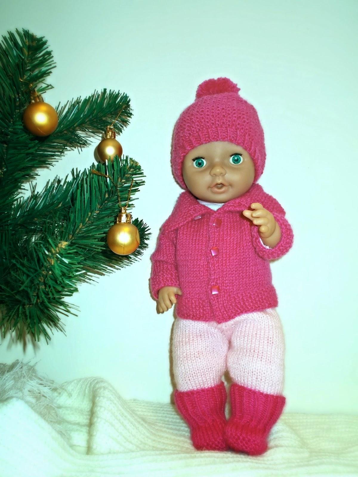 одежда для кукол, вязаная одежда для кукол, Беби Бон, вязание спицами, розовый, игрушка, Новый Год, подарок детям, своими руками, handmade