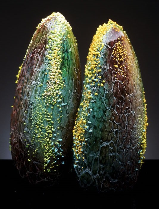 Marsha Blaker e Paul DeSomma esculturas de vidro mar ondas vida marinha mariscos mexilhões
