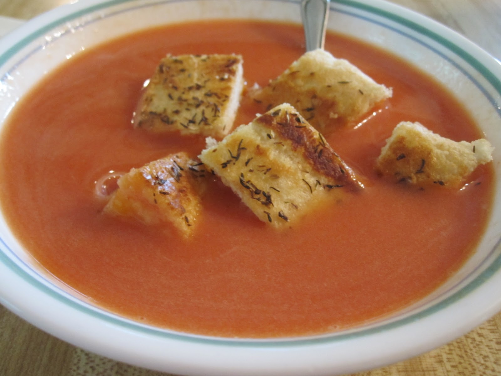 ... and Cooking!: Creamy Tomato Soup with Grilled Cheese Croutons