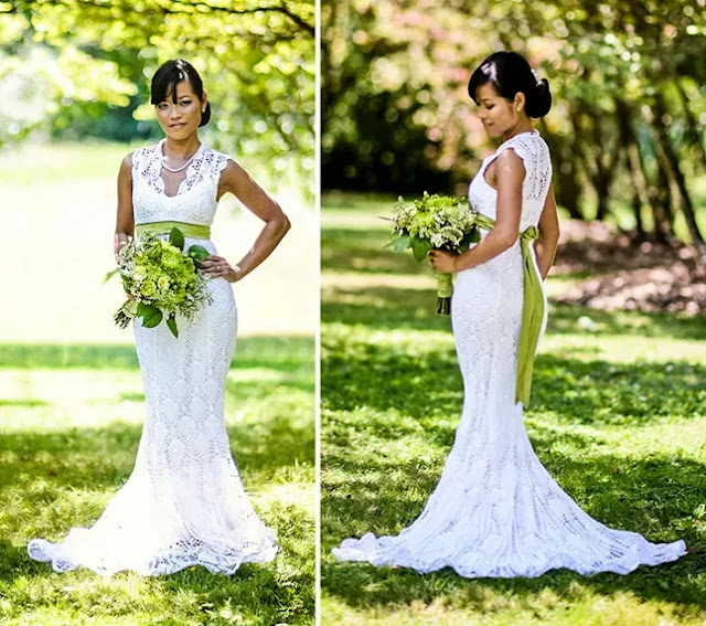 crochet wedding dress, virkattu häämekko