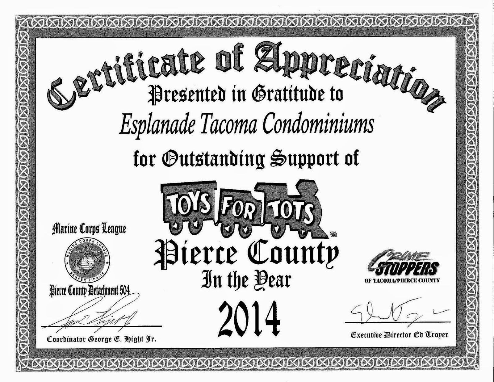 Toys For Tots Certificate : The esplanade tacoma