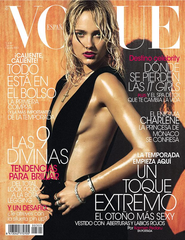 Karmen Pedaru poses for the cover of Vogue Russia August 2013