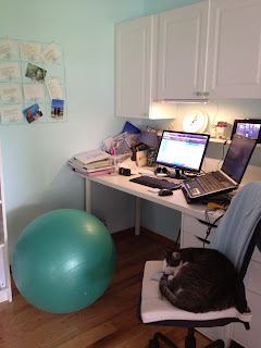 workout ball as office chair