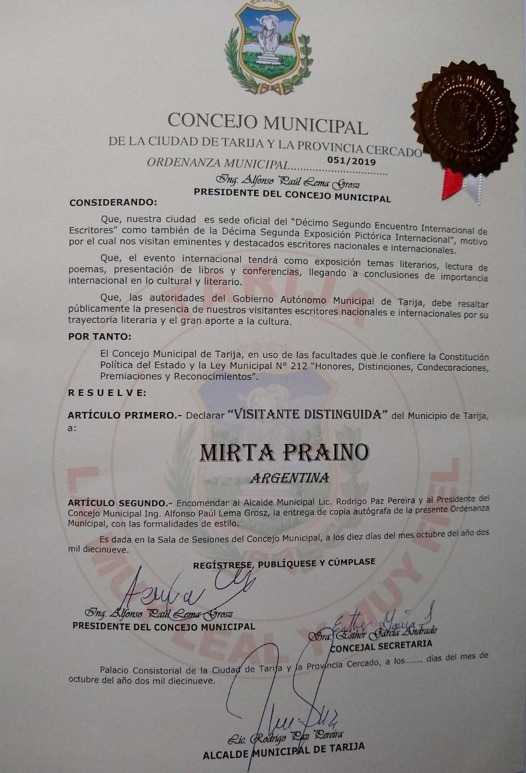 Visitante Distinguida en Tarija Blivia
