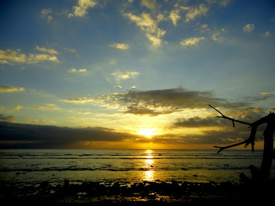 sunset on senggigi beach