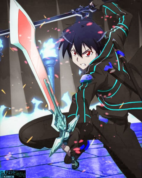 Kirito from Sword Art Online dual wields