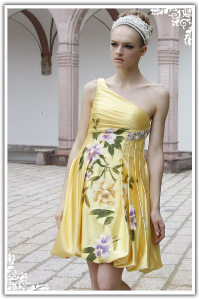 yellow short juniors dress with flower print