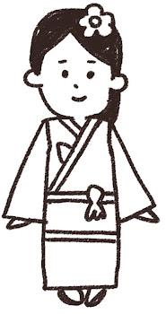 七歳の女の子のイラスト(七五三)線画