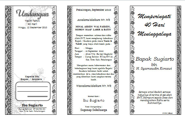 ... for Invitation Walimatul Ursy, Aqiqah, Walimatul Khitan or Tahlil