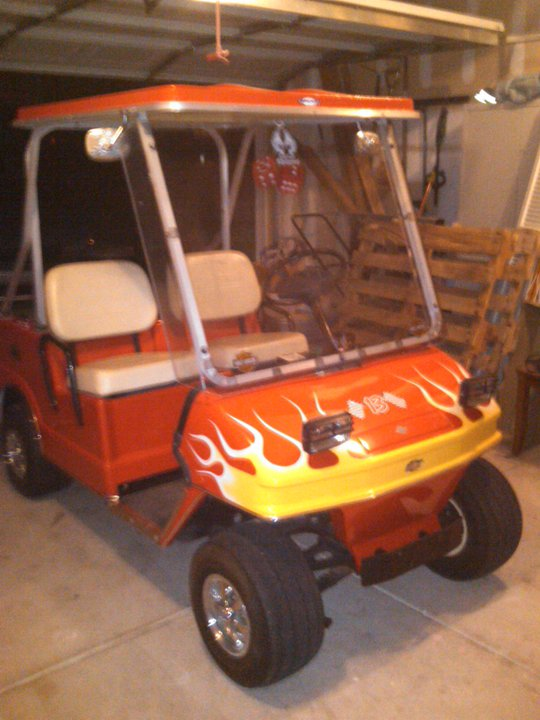 A Golf Cart and Some Ducklings | Mom and Her Drill Golf Cart Flame Paint Html on golf club paint can, flag golf carts custom paint, bright golf cart paint, camo golf carts flat paint, yamaha golf cart paint, harley golf cart paint, best golf cart for paint, golf cart paint designs,
