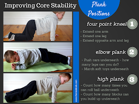Plank exercises to improve a child's core strength