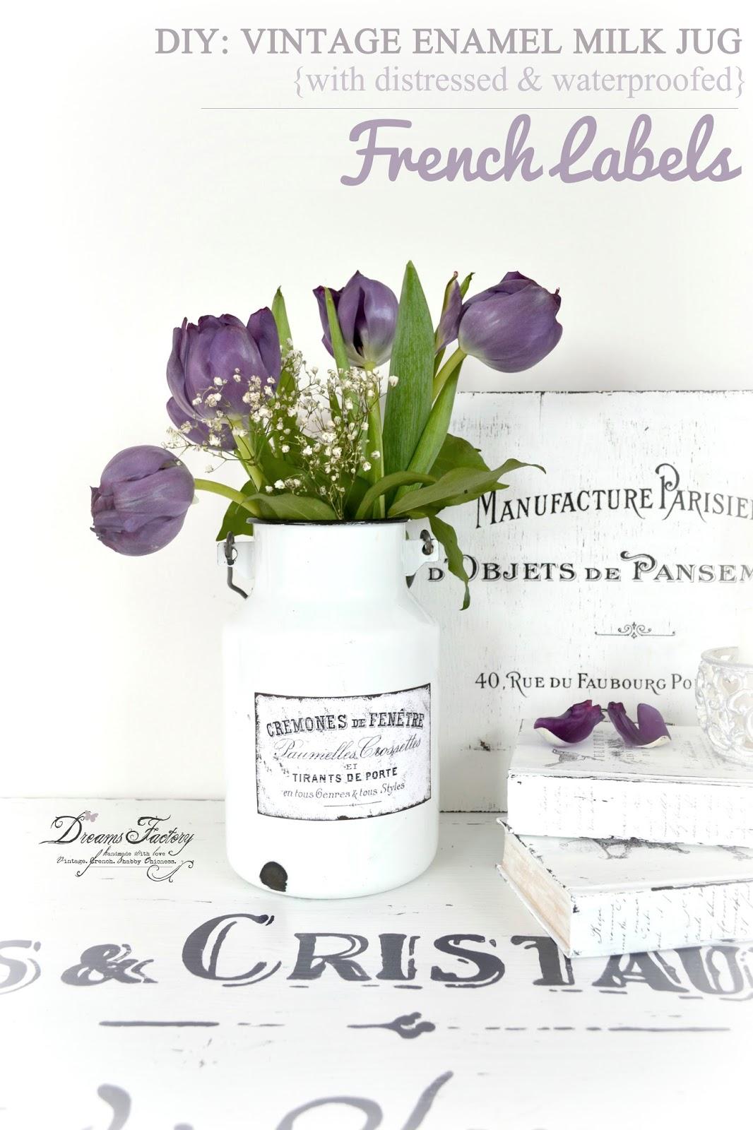 DIY: Vintage enamel milk jug with distressed and waterproofed French labels / Tutorial: Recipient vintage emailat, cu etichete frantuzesti invechite si rezistente la apa