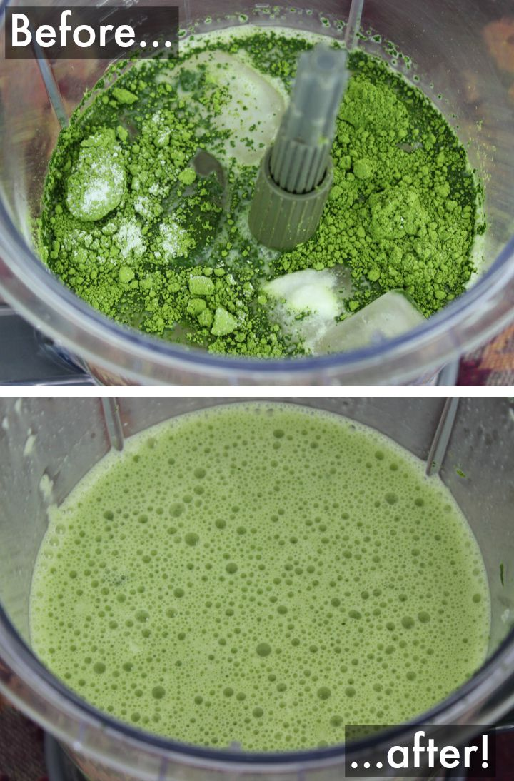 making an iced green tea latte in the blender