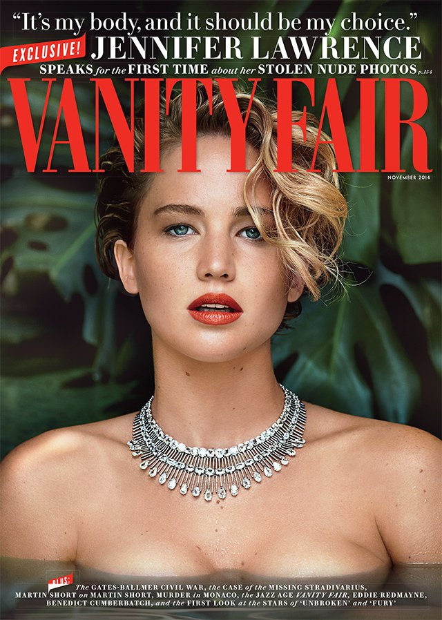 Jennifer Lawrence wears diamonds for the Vanity Fair November 2014 cover
