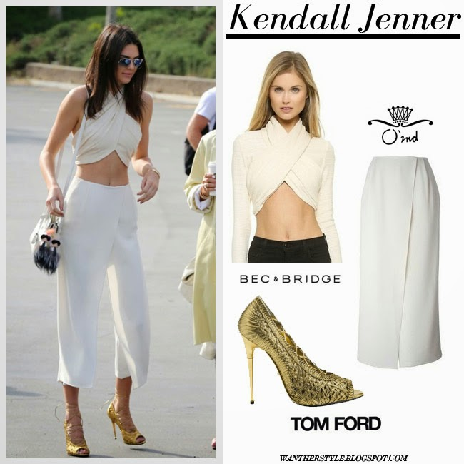 Kendall Jenner in cream wrap crop top, white wide crop pants and gold sandals tom ford want her style april 5