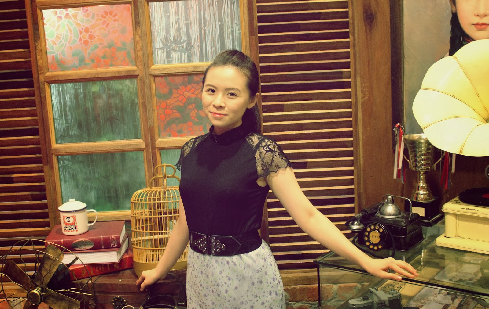 girl and vintage items