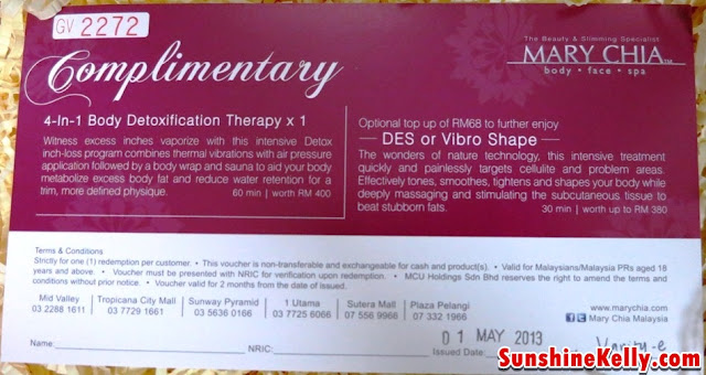 Mary Chia Complimentary 4 in 1 Body Detoxification Therapy