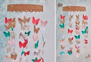 facile à réaliser soi même papillon en pipier pour mobile bébé