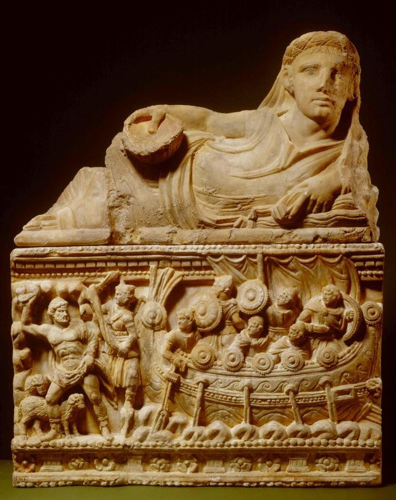 Relieve funerario que representa a Ulises y sus hombres huyendo de la cueva de Polifemo. Siglo-II a.C.- Rijksmuseum van Oud heden Leid