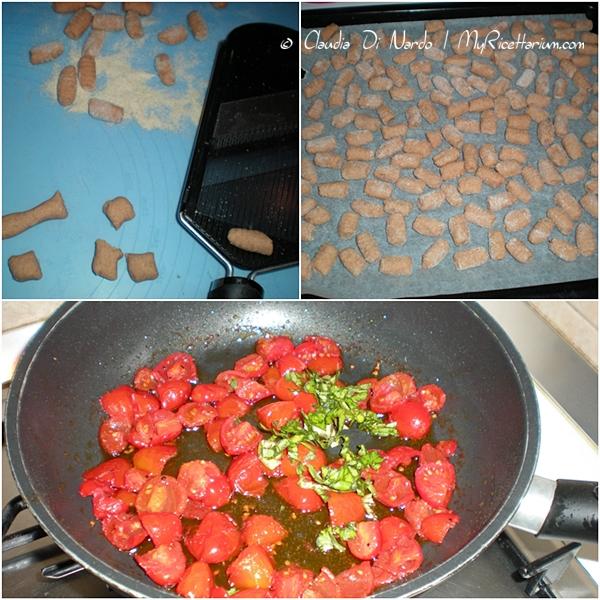 Gnocchetti di pomodoro con pomodorini e basilico